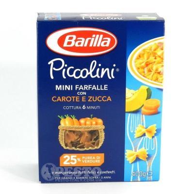 Кольорові Barilla Piccolini Mini Farfalle з морквою та гарбузом 400 г