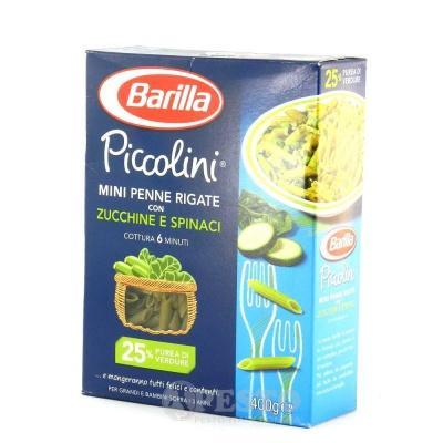 Кольорові Barilla Piccolini Mini Penne Rigate з шпинатом та цукініі 400 г