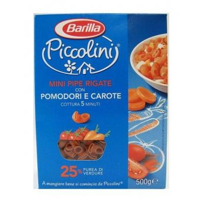 Кольорові Barilla Piccolini Mini Pipe Rigate з помідором та морквою 400 г