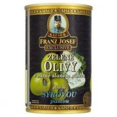 Оливки Kaiser Franz Josef Exclusive Zelene olivy v mirn slanem nalevu plnne syro..
