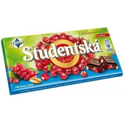 Шоколад Studentska Pecet Horka s cervenym Rybiizem 180 г