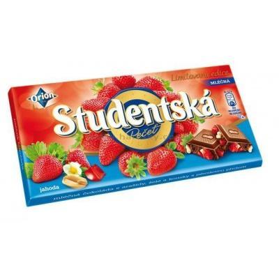 Шоколад Studentska Mlecna з полуницею 180 г