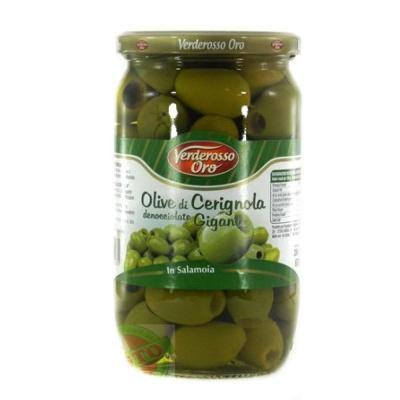 Зелені Verderosso Oro olive di Cerignola Giganti без кісточки 0.67 кг