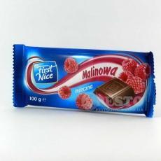 Шоколад First Nice молочний з малиною 100 г