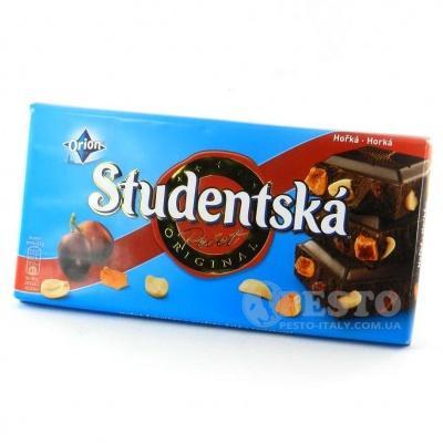 Шоколад Studentska чорний з родзинками та арахісом 180 г