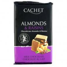 Шоколад Cachet молочний з мигдалем та родзинками 300г