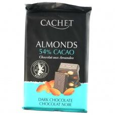 Cachet чорний з мигдалем 53% какао 300 г