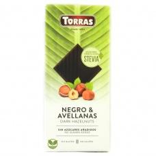 Torras Stevia чорний з лісовим горіхом без глютену та цукру 125 г