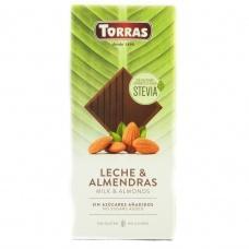 Torras Stevia молочний з мигдалем без глютену та цукру 125 г
