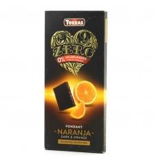 Шоколад без глютену та цукру Torras Zero чорний з апельстною 125г