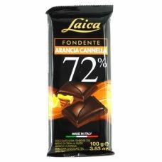 Шоколад чорний Laica з апельсином та корицею 72% какао 100г