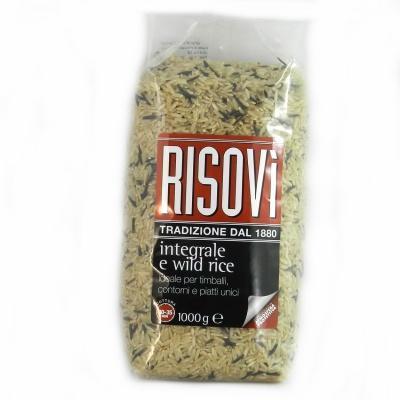 Рис Risovi Integrale e wild rice 1 кг (коричневий)
