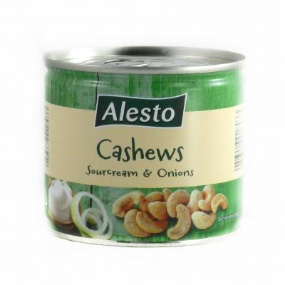 Горіхи кешью Alesto Cashews зі смаком цибулі та сметани 150 г (ж/б)