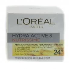 Денний крем Loreal hydra active 3 nutrissime для сухою та чутливою шкірою з омега-керамі 50мл