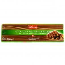 Шоколад Dolciando молочний з цілим горіхом 300г