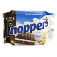 Bафлі Knoppers хрусткі молочно-шоколадні з горіховою начинкою 25г
