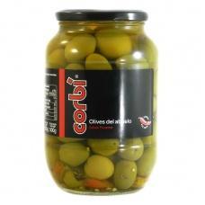 Оливки Corbi зелені з кісточкою та гострим перцем 0,835кг