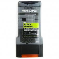 Гель для душу Loreal men exrert XL bleck mineral 3in1 300мл