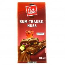Шоколад Fin Carre молочний з ромом та родзинками 200г
