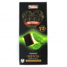 Шоколад без глютену та цукру Torras Zero чорний з мятою  85% какао 100г