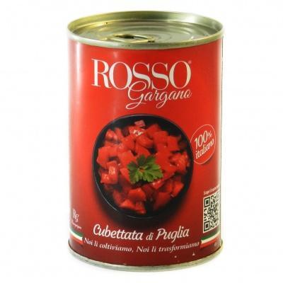 Помідори Rosso Gargana очищені,різані кубиками 400г