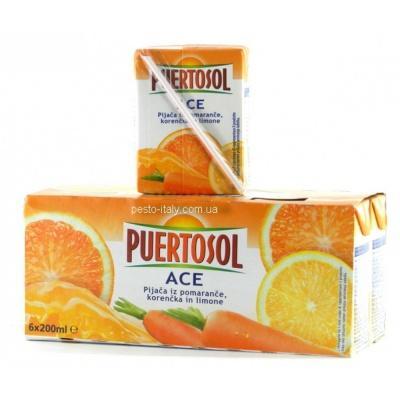Сік Puertosol апельсин, лимон, морква 200мл