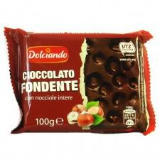 Шоколад Dolciando чорний з лісовим горіхом 100г