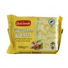 Шоколад Dolciando білий з лісовим горіхом 100г