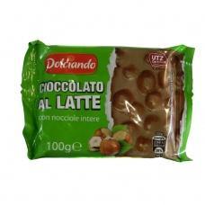 Шоколад Dolciando молочний з лісовим горіхом 100г