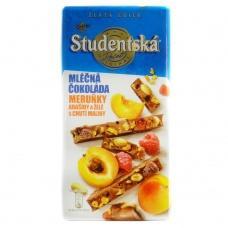 Шоколад Studentska молочний абрикос та малина 180г