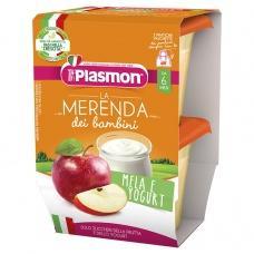 Пюре Plasmon яблуко та йогурт без глютену до 6міс. 2*120г