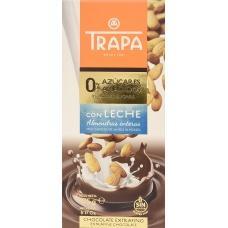 Шоколад Trapa молочний з мигдалем без цукру 175г