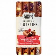 Шоколад Nestle L`atelier молочний з журавлиною,мигдалем та фундуком 170г