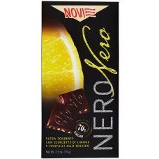 Шоколад Novi 70% какао з цедрою лимону та імбирем 70гр