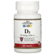 Вітаміни 21st Century D3 25мкг(1000iu) 60шт