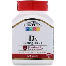 Вітаміни 21st Century D3 10мкг(400МЕ),100шт