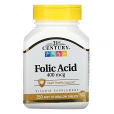 Вітаміни 21st Century Фолієва кислота 400мкг,250шт